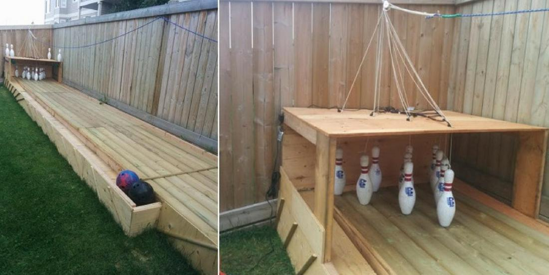 A bowling fan builds his own bowling alley in his backyard