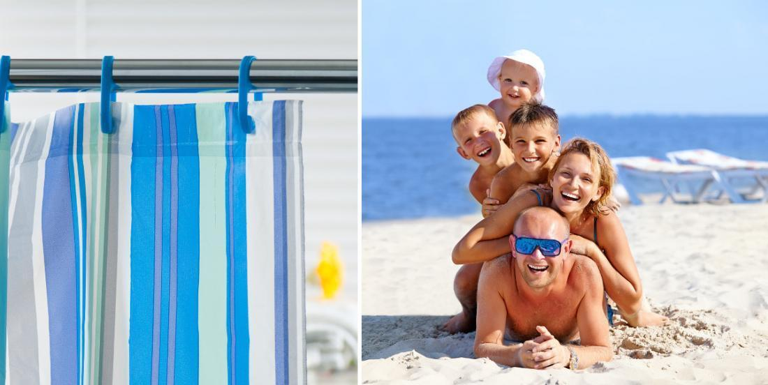 This mom always takes a shower curtain to the beach and you'll want to do the same.
