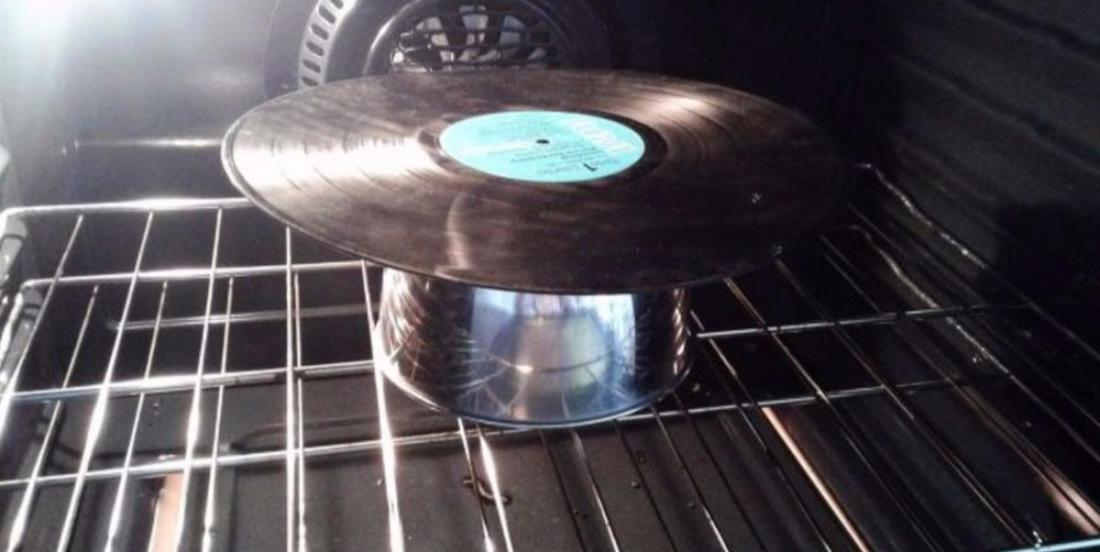 Put an old LP on a bowl in the oven and admire the result