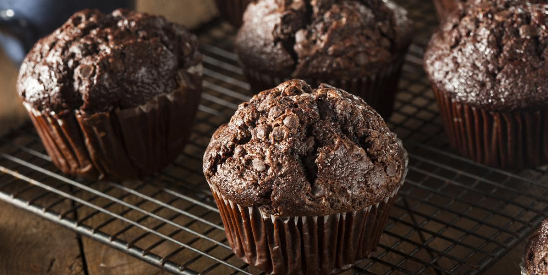 Zero guilt: a chocolatey muffin made with applesauce and vanilla yogurt!