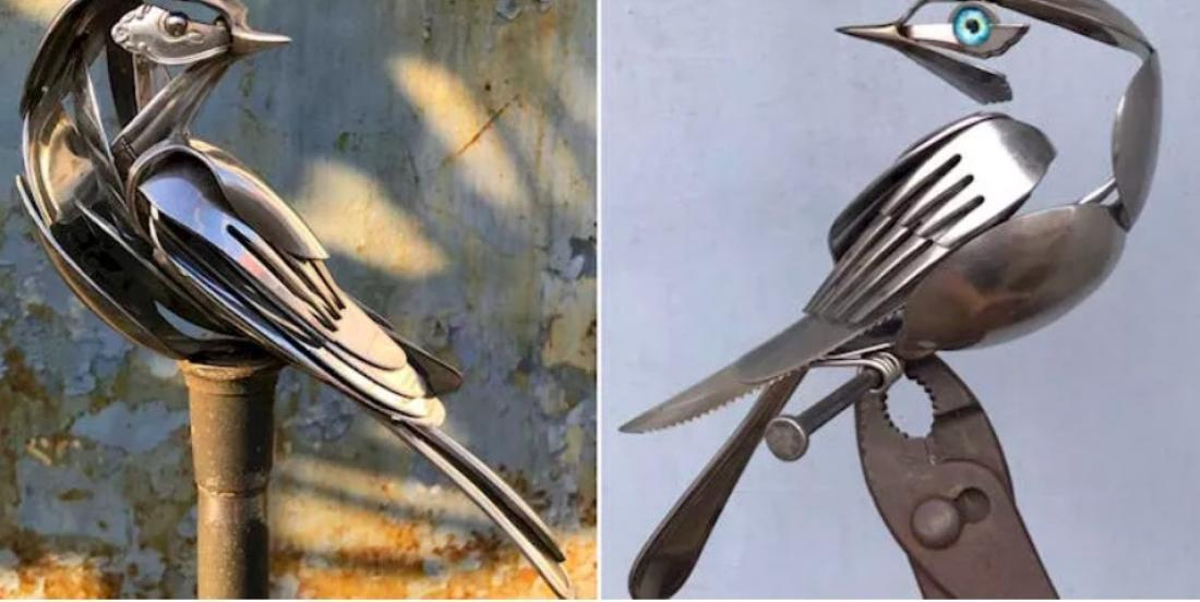 This artist creates the most beautiful bird sculptures using old silverware!