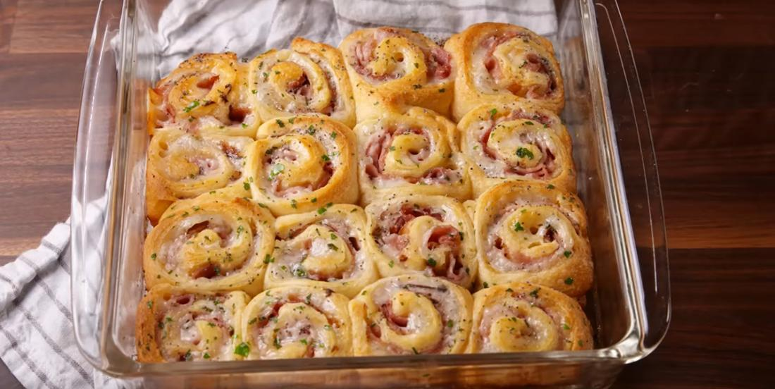 These ham and Swiss cheese rolls are divinely good!