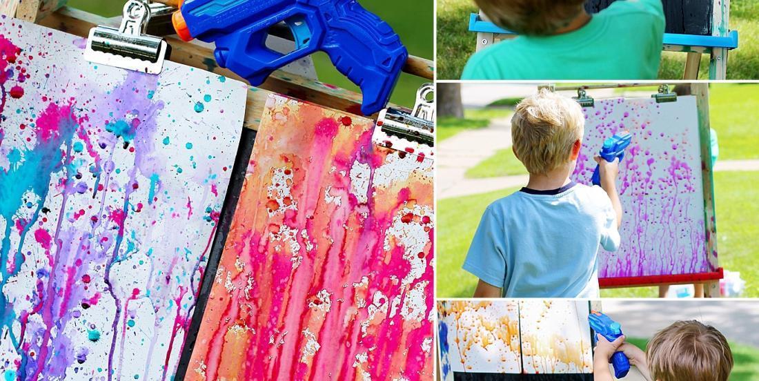A fun activity for kids: squirt gun painting!
