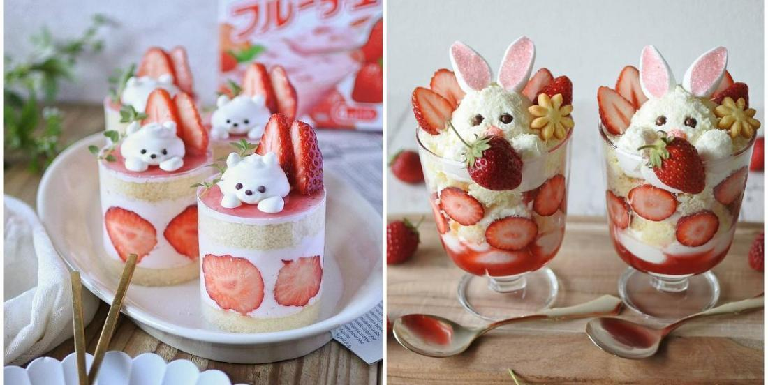 How to make cute little strawberry rabbit parfait!