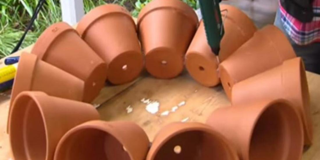 Create your own terracotta little garden using 11 flower pots