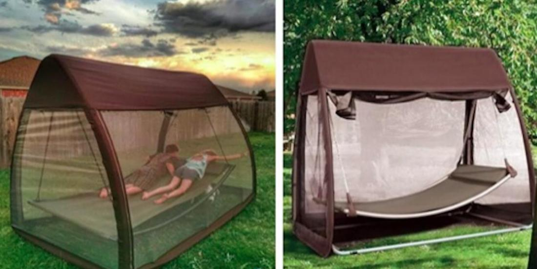 A must for the summer:  a hammock with an integrated mosquito net to relax in peace.