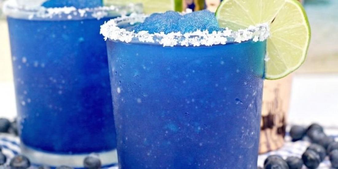 "The dream cocktail for August: a blueberry ""slush"" Margarita!"
