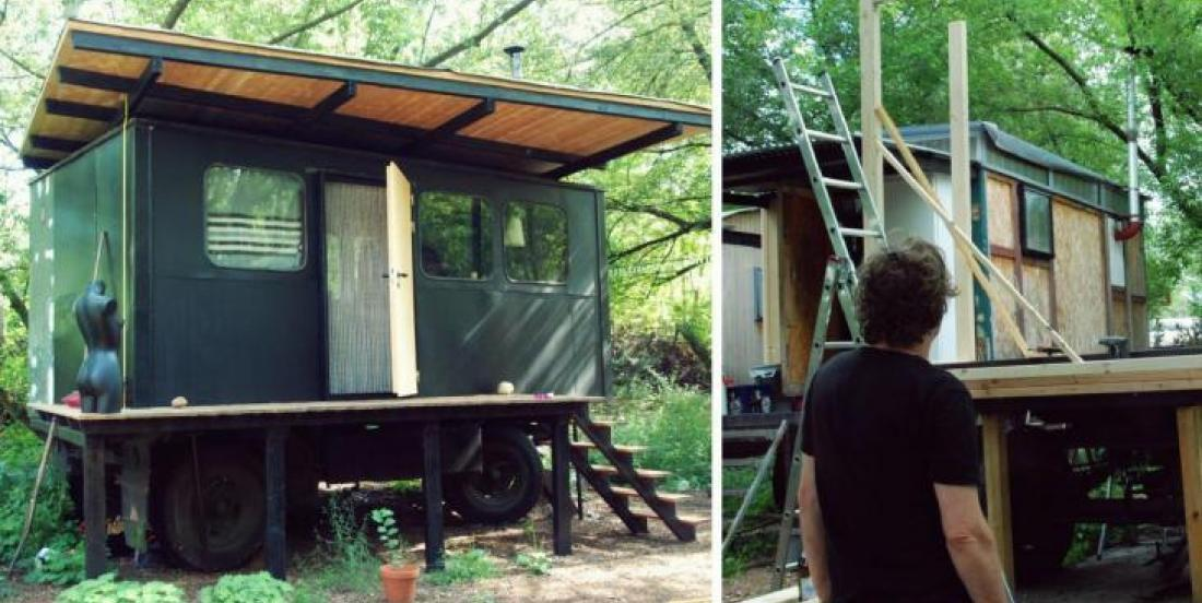 This man builds an amazing little house on a truck trailer!
