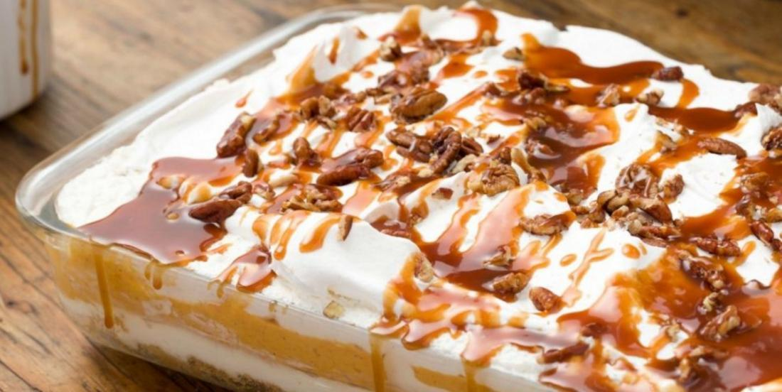 This lasagna-style cheesecake is the PERFECT dessert for fall!.